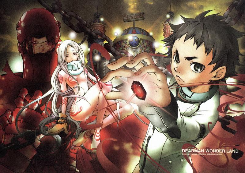 """Shiro-chan & Ganta, háttérben pedig """"Red Man""""."""