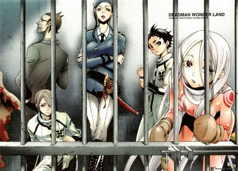 Felül: Tsunenaga Tamaki (börtöniga), Makina (börtönőr parancsnok), alul: Yō Takami (Minatsuki bátyja) + Ganta és Shiro