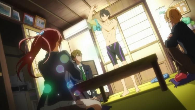 Gō-chan (Rin hugicája) a fiúk körében. Éppen felizgul a Haruka-sempai macsó testére tapadt vízcseppek önellátó felszárításán.