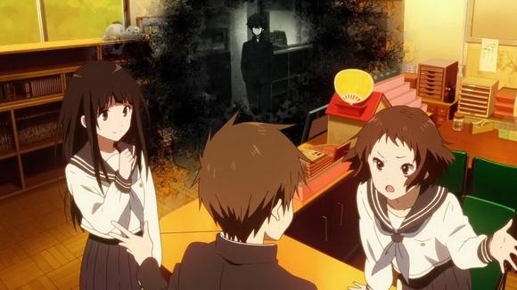 A kívülálló - Oreki másnak érzi magát, mint a többiek (előtérben: Chitanda, Satoshi, Ibara)
