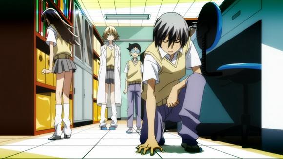 A csapat: Kaizou, Umi, a prof, és Chitan. Bevetésre készen.