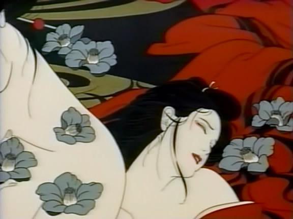 Művészi ábrázolás, és az ukiyo-e látványvilág kettőse: vérvörös, mint a szenvedély, és virágok, mint az érzékiség szimbolumai.