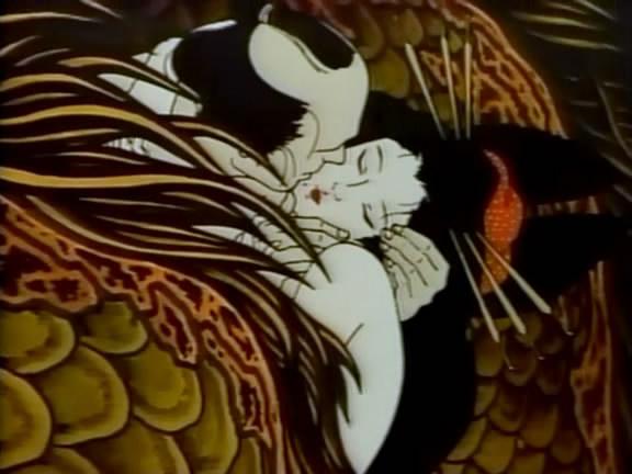 Komurasaki szerelmes évődése legkedveltebb ügyfelével. Gustav Klimt csókjelenetében.