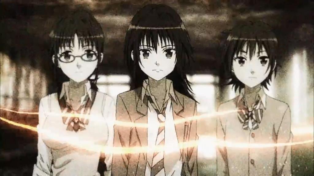 A főszereplők a Taeko  rossz minőségű openingből. A képen: Taeko (szemüveges), Ibara, Aoi.