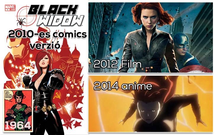 Fekete özvegy külsejének evolúciója nagy léptekben az 1964-es első megjelenése óta. A Bosszúállók című filmben Scarlett Johansson alakította a vörös démont.