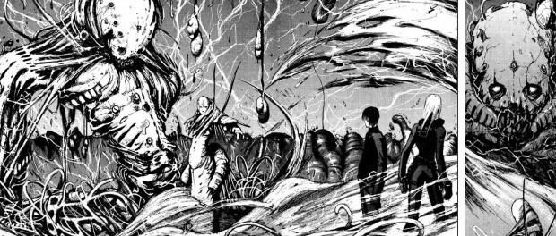 Ilyen stílus jellemzi Nihei Tsutomu műveit. A kép a Blame! mangából származik.